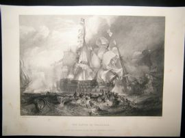 After Turner 1864 Print, The Battle of Trafalgar, Naval Maritime, Art Journal